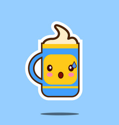 Cute cup of coffee cartoon character isolated on vector