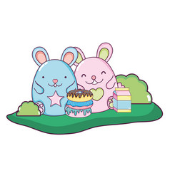 cute mice with donuts and milk box vector image