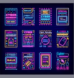 Cyber monday mega sale super discounts neon set vector