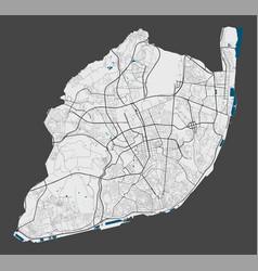 Detailed map lisboa city cityscape royalty vector