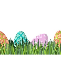 Easter eggs and green grass seamless horizontal vector image