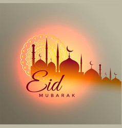 eid mubarak beautiful greeting design with mosque vector image