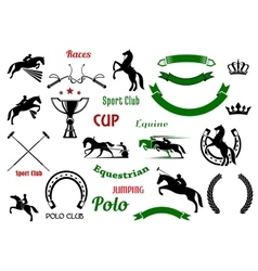 Equestrian sports design elements with horses vector