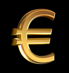 Euro sign on black vector image