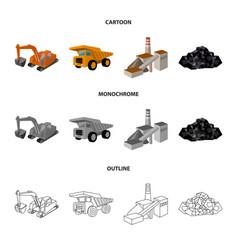 Excavator dumper processing plant minerals and vector