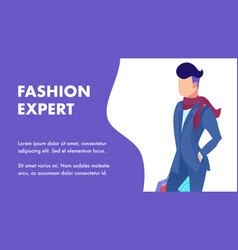 Fashion expert tips service flat banner template vector