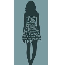 Fashion woman in dress from quote vector
