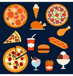 Fast food drink and desserts menuflat icons vector image