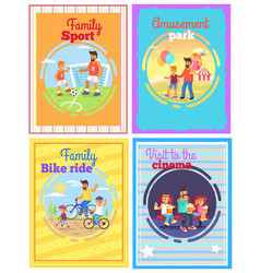Father with amusing with kids set of four cards vector