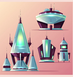 fiction spaceships cartoon collection vector image