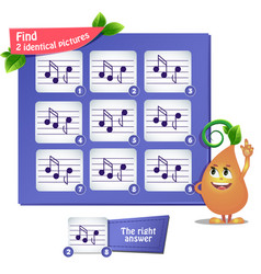 find 2 identical pictures musical notes vector image