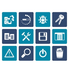 Flat developer programming and application icons vector