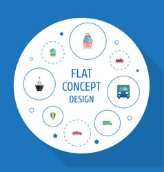 flat icons airship transport carriage and other vector image