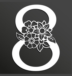 Floral number 8 vector