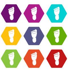 foot left leg icon set color hexahedron vector image