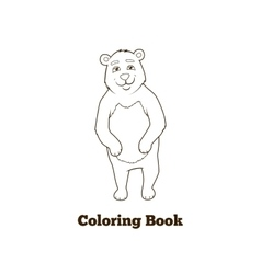 Forest animal bear cartoon coloring book vector image