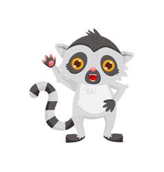friendly lemur waving paw cute cartoon character vector image
