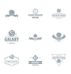 Galaxy mission logo set simple style vector