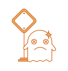 Ghost kawaii character with traffic signal vector