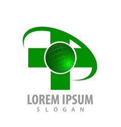 Green cross world logo concept design symbol vector