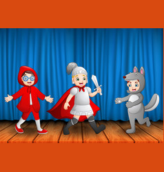 group of children performing on stage vector image