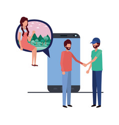 Group people with device screen avatar vector