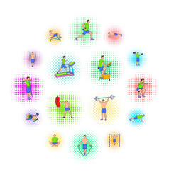 gym icons set pop-art style vector image
