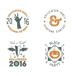 Halloween 2016 party label templates with scary vector image