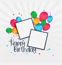 Happy birthday card with photo frame and balloons vector