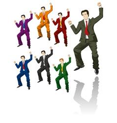 Happy jumping businessman vector