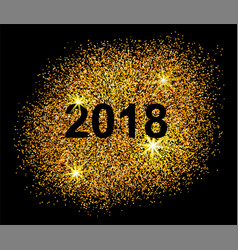 happy new year 2018 postcard on black background vector image