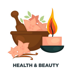 Health and beauty promotional poster with vector