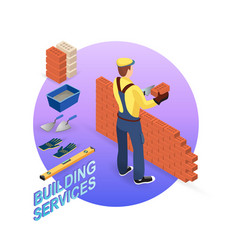 Home repair isometric template builder with tools vector