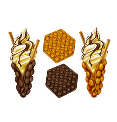 Hong kong egg bubble waffles set vector