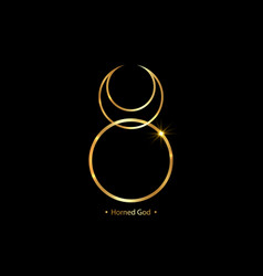 horned god wiccan gold icon god nature sign vector image