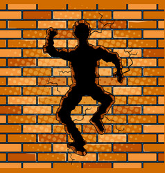 Human silhouette hole in brick wall pop art vector