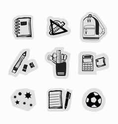 Inky black hand drawn school supplies stickers vector
