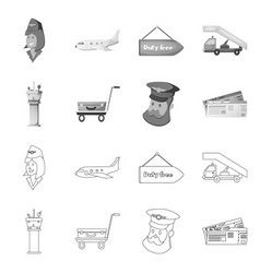 isolated object airport and airplane icon set vector image