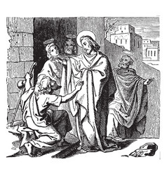 jesus heals a blind beggar named bartimaeus at vector image