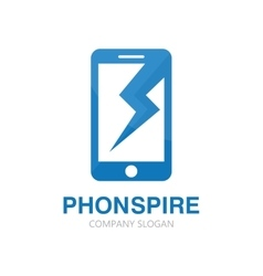 Logo combination of a phone and lightning vector