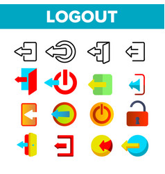 Logout button thin line icons set vector