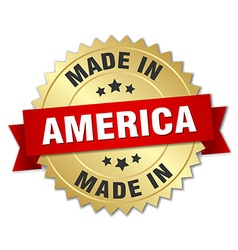 Made in america gold badge with red ribbon vector