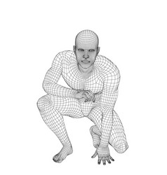 man sitting on ground wireframe human body vector image
