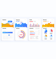 mobile charts ui phone screen with dashboard vector image