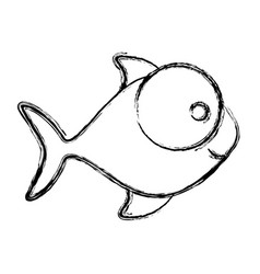 Monochrome sketch of fish with big eye and small vector