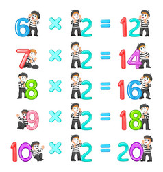 Number multiplication from 12 until 20 vector