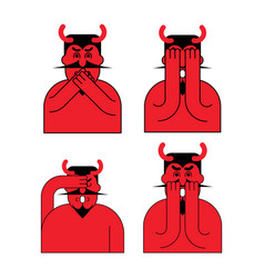 Omg red devil set oh my god satan frightened demon vector