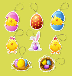 pack cartoon icon stickers for easter vector image