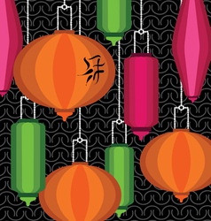 Pattern with colorful chinese lantern vector image