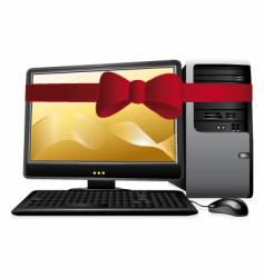 personal computer with red bow vector image